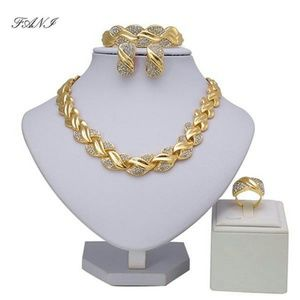 Braided gold jewelry set